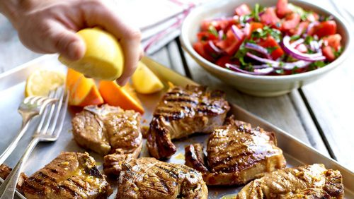 Citrus Marinated Lamb Chops with Moroccan Style Tomato Salad