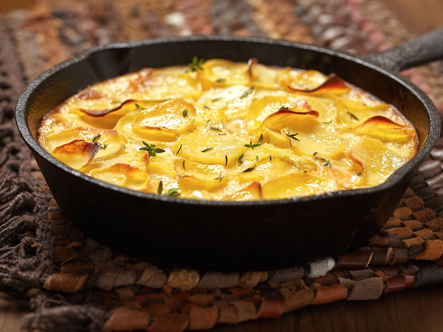 potato gratin in pan