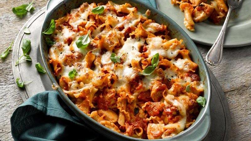 Chicken and Mozzarella Pasta Bake