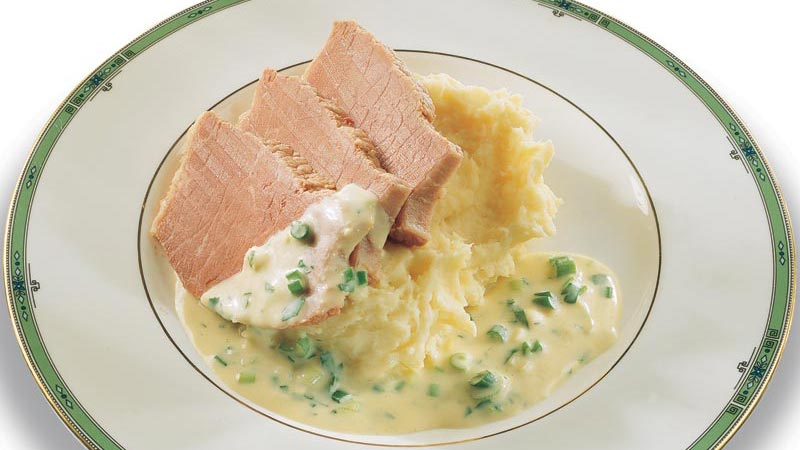 Corned Beef and Parsnip Mash with Mustard and Cider Sauce