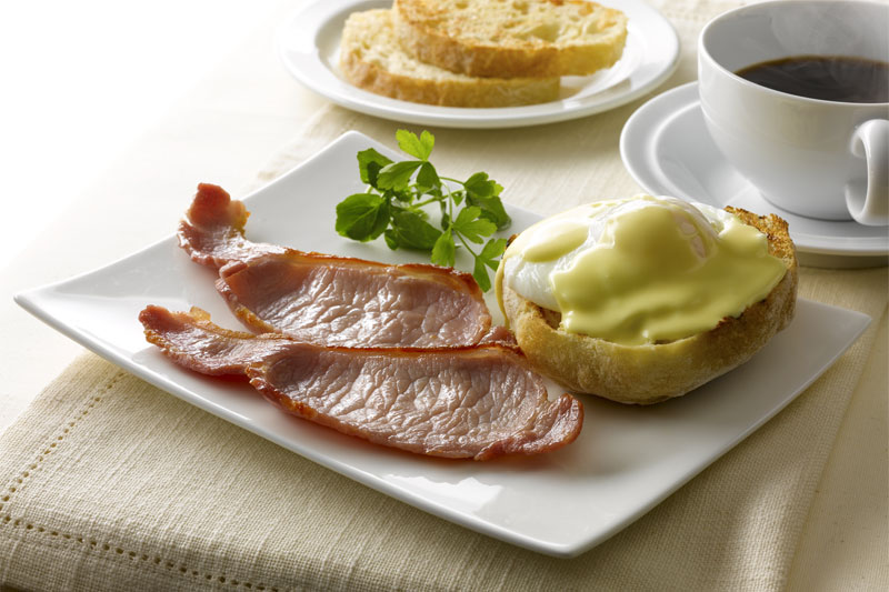 Eggs Benedict with Grilled Rashers