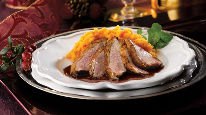 Pan Fried Duck Breasts with Red Wine and Orange Sauce