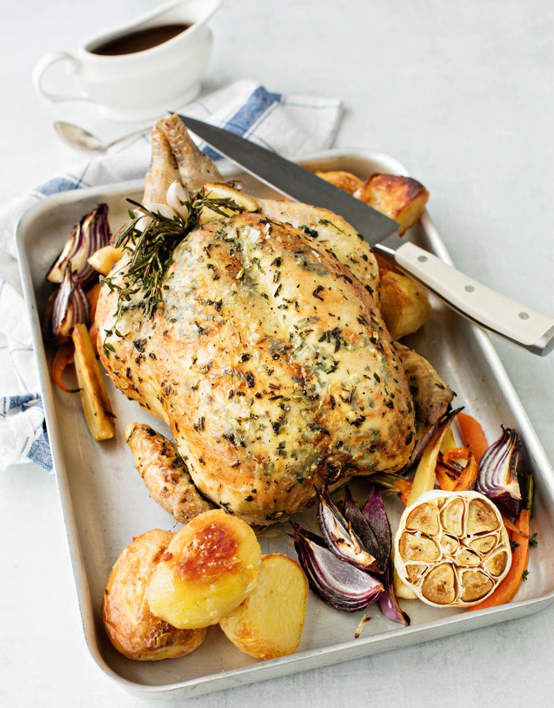 Roast Chicken with Herby Butter