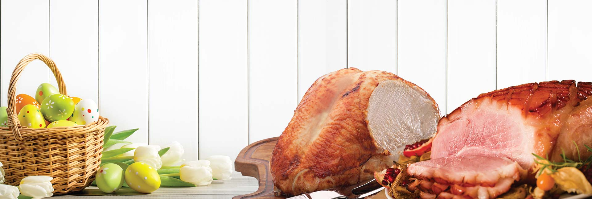 turkey crown and large home cured ham