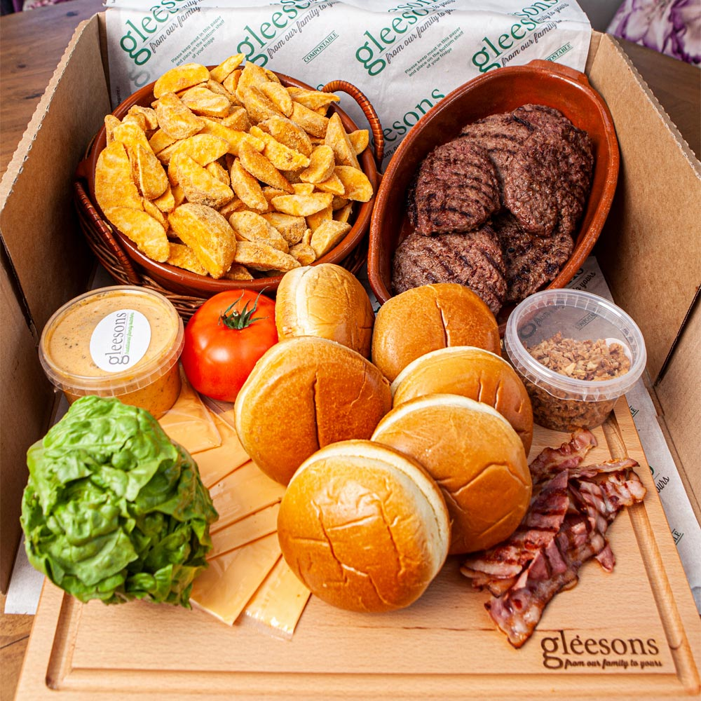 gleesons burger box, everything in the box